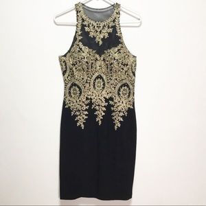 Xscape Gold and Black Dress